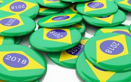 3d Pin Elections 2018. Brazil voting. 3d illustration. Pin Elections 2018. Brazil voting concept stock illustration