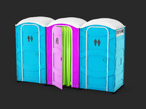 3d illustration of Pink Bathroom and Blue bio toilets isolated on black background. Blue and green bio toilets isolated on write background. Hiking services Royalty Free Stock Photo