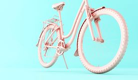 3d Pink bicycle. 3d illustration. Pink bicycle on blue background. Sports concept Stock Photo
