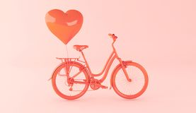 3d Pink bicycle. 3d illustration. Pink Bicycle with red heart balloon. Love concept Stock Photos