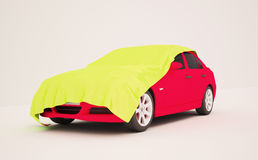 3d illustration of a pink car. Under the yellow silk tent Royalty Free Stock Photography
