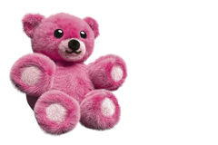 3D Illustration of a pink furry teddy bear Stock Images