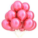 3D illustration of pink party helium balloons birthday decoration. 3D illustration of pink party helium balloons happy birthday carnival honeymoon celebrate Stock Images