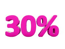 30 Percent Pink Sign. 3d Illustration Pink 30 Percent Discount Sign, Sale Up to 30, 30 Sale, Pink Percentages Special Offer, Save On 30 Icon, 30 Off Tag, Pink 30 Royalty Free Stock Photos