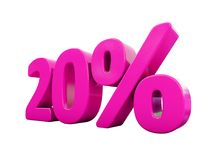 20 Percent Pink Sign. 3d Illustration Pink 20 Percent Discount Sign, Sale Up to 20, 20 Sale, Pink Percentages Special Offer, Save On 20 Icon, 20 Off Tag, Pink 20 royalty free illustration