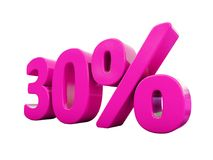 30 Percent Pink Sign. 3d Illustration Pink 30 Percent Discount Sign, Sale Up to 30, 30 Sale, Pink Percentages Special Offer, Save On 30 Icon, 30 Off Tag, Pink 30 Royalty Free Stock Images