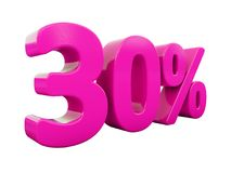 30 Percent Pink Sign. 3d Illustration Pink 30 Percent Discount Sign, Sale Up to 30, 30 Sale, Pink Percentages Special Offer, Save On 30 Icon, 30 Off Tag, Pink 30 Royalty Free Stock Photo