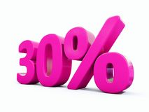 30 Percent Pink Sign. 3d Illustration Pink 30 Percent Discount Sign, Sale Up to 30, 30 Sale, Pink Percentages Special Offer, Save On 30 Icon, 30 Off Tag, Pink 30 Royalty Free Stock Image
