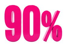 90 Percent Pink Sign. 3d Illustration Pink 90 Percent Discount Sign, Sale Up to 90, 90 Sale, Pink Percentages Special Offer, Save On 90 Icon, 90 Off Tag, Pink 90 vector illustration