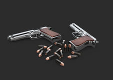 3d Illustration of Pistols Gun with bullets, isolated black Royalty Free Stock Image