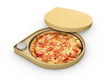 3d illustration of Pizza in a cardboard box against a white background, Pizza delivery. stock photography