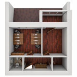 3D illustration of the plan of office. 3D render of the plan of office Royalty Free Stock Images