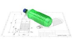 3d illustration of plastic bottle. Above engineering drawing royalty free illustration