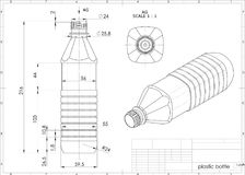 3d illustration of plastic bottle. Above engineering drawing stock illustration