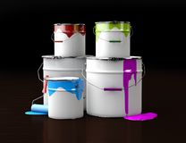 3d Illustration of plastic buckets with colorful paint on wooden background.  Royalty Free Stock Images