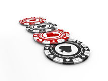3d illustration Pocker Chips, Casino Concept isolated on white. Stock Photography