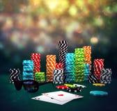 3d illustration of Poker Chips Stock Photo