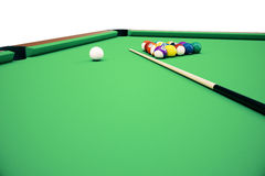 3D illustration pool billiard game. American pool billiard. Pool billiard game. Billiard sport concept. Royalty Free Stock Photography