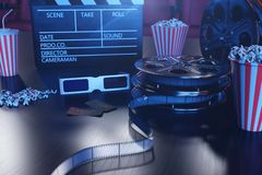 3D illustration with popcorn, cinema reel, clapperboard and two tickets with blue light. Concept cinema hall and theater. Red chairs in the cinema hall in the stock illustration
