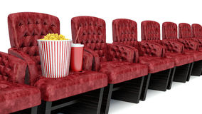 3d illustration. popcorn on theater seat. cinematography concept Stock Images