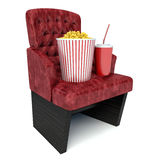 3d illustration. popcorn on theater seat. cinematography concept Royalty Free Stock Photos