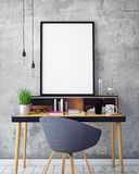 3D illustration of poster frame template, workspace mock up, Royalty Free Stock Photography