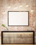 3D illustration of poster frame template, workspace mock up, Stock Image