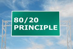 80/20 Principle concept. 3D illustration of 80/20 PRINCIPLE script on road sign Stock Image
