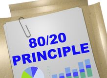 80/20 Principle concept. 3D illustration of 80/20 PRINCIPLE title on business document vector illustration