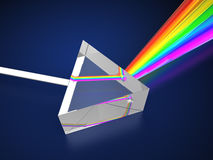 Prism. 3d illustration of prism with light spectrum Royalty Free Stock Photos