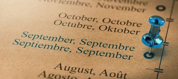 Focus on September, Months of the Year Calendar. 3D illustration of project or business planning with a thumb tack pointing on september. Months of the year Royalty Free Stock Photo