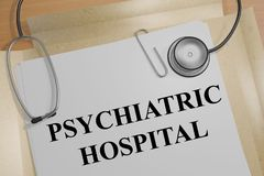 Psychiatric Hospital concept. 3D illustration of PSYCHIATRIC HOSPITAL title on a medical document Stock Photos