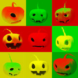 3d illustration with pumpkins in which different mood Stock Photos