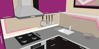 3D illustration of purple and brown kitchen corner with fume hood, gas hob, sink and wall pot rack Royalty Free Stock Photo