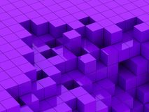 3d illustration of purple cubes. Abstract of 3d purple cubes, blocks background Royalty Free Stock Images