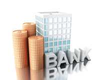 3d illustration. Putting coins into piggy bank building. Savings business concept.  white background Stock Photography