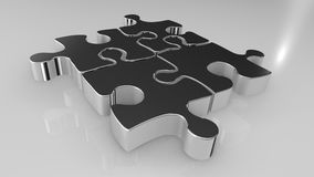 3D Illustration: 4 Puzzle Items Royalty Free Stock Photography