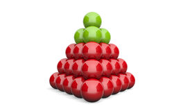 3D Illustration pyramid ball concept green red 2 Stock Photography