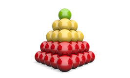 3D Illustration pyramid ball concept green yellow red 2. On white background Royalty Free Stock Photos