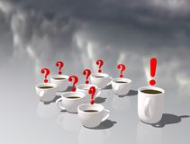 Cups of tea. Office tea party. Discussion or communication during a Coffee break. Symbolic picture of answers and questions. royalty free illustration