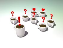 Cups of tea. Office tea party. Discussion or communication during a Coffee break. Symbolic picture of answers and questions. stock illustration
