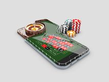 3d Illustration of realistic casino roulette table, on the phone screen. Casino online concept.  royalty free illustration