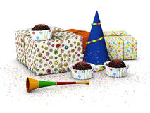 3d Illustration of realistic gift boxes with confetti and cakes.  Stock Photos