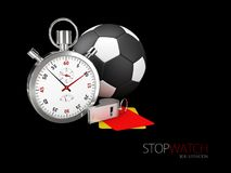 3d illustration of Realistic image of a sports stopwatch with ball and whistle. Symbol competition. isolated on black. 3d illustration of Realistic image of a Royalty Free Stock Image