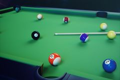 3D illustration recreation sport. Billiards balls with cue on green billiards table. Billiard sport concept. Pool. 3D illustration recreation sport. Billiards Royalty Free Stock Image