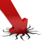 Red arrow falling. 3d illustration of red arrow graph in crack, over white background Royalty Free Stock Image