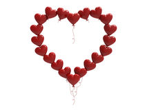 3D illustration red balloon hearts frame. On a white background Royalty Free Stock Photo