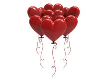 3D illustration red balloon hearts. On a white background Royalty Free Stock Image