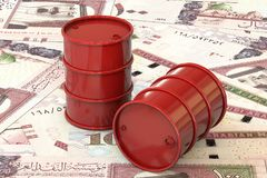 Red barrels of oil lie on background of banknote one hundred riyals, Saudi Arabia Stock Images