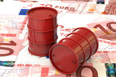 3d illustration: Red barrels of oil lie on the background of banknote of ten Euro, European Union. Money. Petroleum business Stock Photography